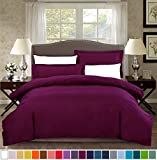 SUSYBAO 2 Pieces Duvet Cover Set 100% Natural Cotton Twin/Single Size 1 Duvet Cover 1 Pillow Sham Marsala/Burgundy Luxury Quality Ultra Soft Breathable Lightweight Solid Bedding with Zipper Ties