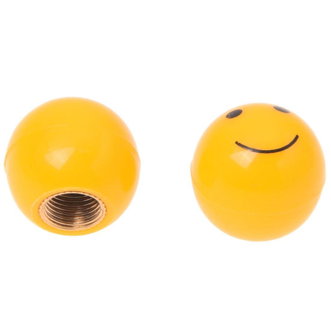 TOOGOO(R) 4 x Universal Tapa de Vastago de la valvula de aire del neumatico Con diseno de Cara Sonriente Amarilla para Carro Coche Bici SHOMAM11299