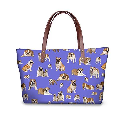 Bulldog Casual Cute Green 13 for Handbag Ladies Nopersonality Color Handle Women Tote wF6TU