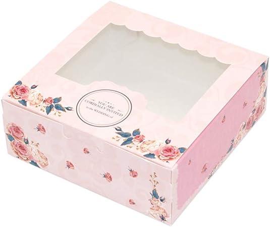 Sweet48 - Caja de cartón con ventana plegable y bonita rosa de caramelo, caja de regalo para