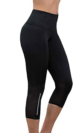 LaSculpte Womens Shapewear Yoga Pants Antimicrobial Capri Sports Tights High Waist Tummy Control Gym Workout Running Fitness Leggings with Pocket, 10-20