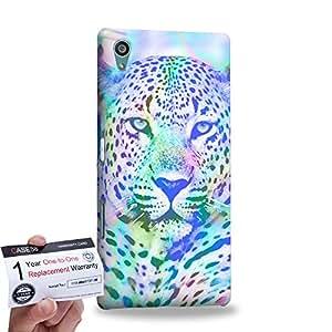 Case88 [Sony Xperia Z5] 3D impresa Carcasa/Funda dura para & Tarjeta de garantía - Art Fashion Ice Leopard Mix