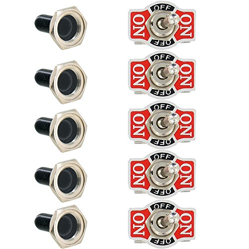 ESUPPORT Car Univeral Heavy Duty 20A 125V SPDT 3P ON/OFF/ON Rocker Toggle Switch Metal Waterproof Boot Cap 12mm Pack of 5 ()