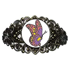 Chicforest Bronze Retro Style Beautiful Lovely Butterfly Flower Cuff Bracelet