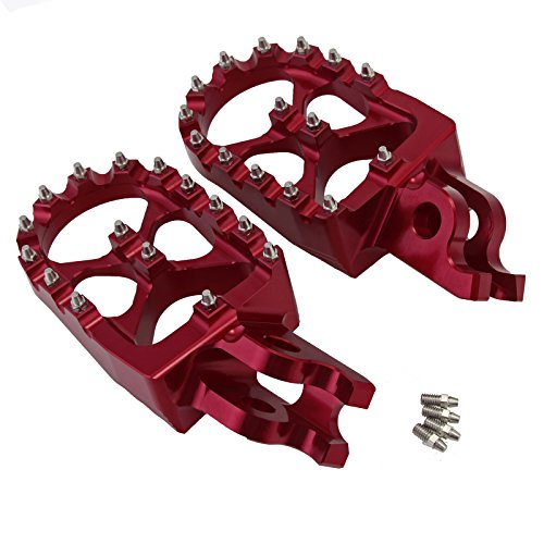 NEVERLAND Motorcycle Wide FAT Anodized Foot pegs Footrests for Honda CR125/250R CFR150 CRF 250R/X 450R/X Red (Crf 450r Accessories)