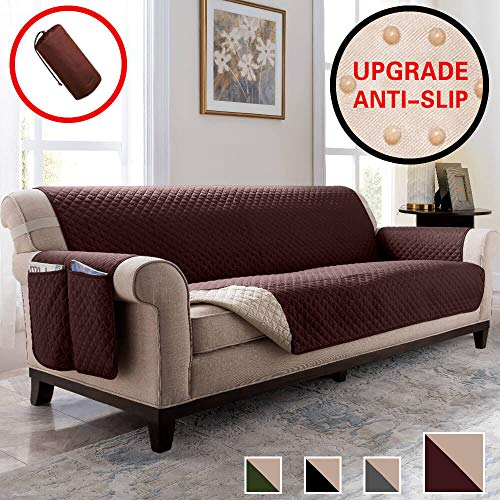 Vailge Anti-Slip Oversized Sofa Covers, Water Resistant Sofa Slipover with Back Non-Slip Dots,Machine Washable Sofa Covers for Dogs, Children, Pets(Sofa Oversize:Chocolate)
