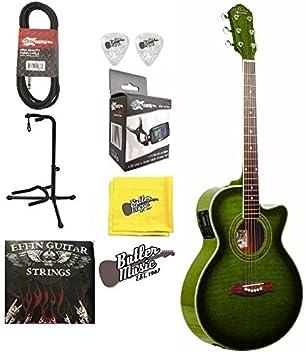 Oscar Schmidt og10ceftgr Trans verde a/E Guitarra w/EFFIN cuerdas, púas y más: Amazon.es: Instrumentos musicales