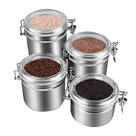 db003b394 Amazon.com  ENLOY 4-Piece Stainless Steel Airtight Canister Set ...