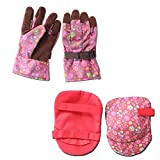 [NEW DESIGN] Fashionable Gardening Gloves and Knee Pads Set for Women - Adjustable Fit - One Size Small/Medium - Yard Work and Home Garden Accessories with Designer Floral Print - Burgundy color