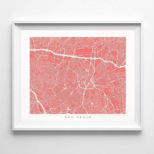 Sao Paulo Brazil Street Road Map Home Decor Poster Urban City Hometown Wall Art Print - 70 Color Options - Unframed