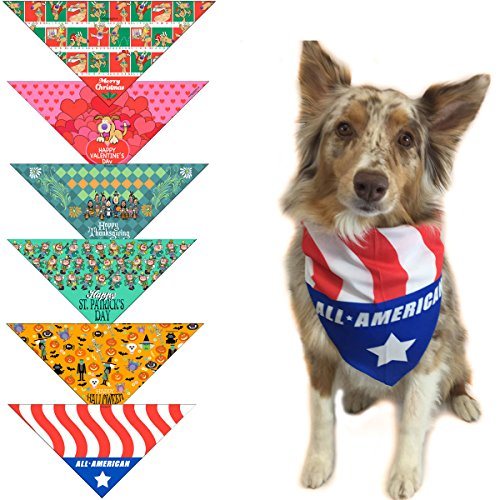 6 pc Holiday Dog Bandana Med to Large Dogs - Set of 6 - Christmas, Halloween, Thanksgiving, Valentine's Day, St. Patricks Day, Patriotic ()