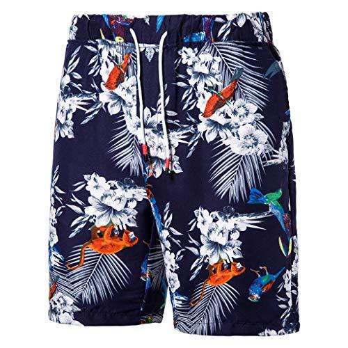 hositor Mens Shorts, Mens Casual Printed Pocket Beach Work Sport Trouser Shorts Pants Navy