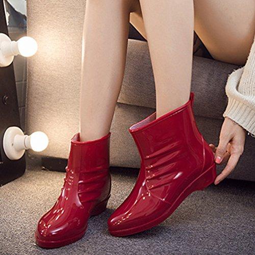 Mujer de Zapatos Casual Lluvia de Impermeable Botas Rojo Moda Bota Xinwcang Agua Chelsea 8q6Pwtx
