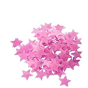 300pcs Plastic 3D Stars Glow in the Dark Stickers Night Luminous Wall Decal Sticker For Kids Bedroom Living Room Children's Room Ceiling Nursery Room Pink