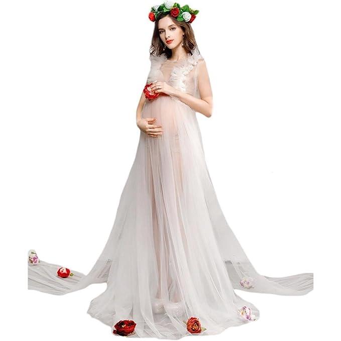 AOKDOOR embarazada Sexy elegante mujer retrato ropa moda mujeres embarazadas tomar fotos ropa de mami fotografía vestido de maternidad (beige): Amazon.es: ...
