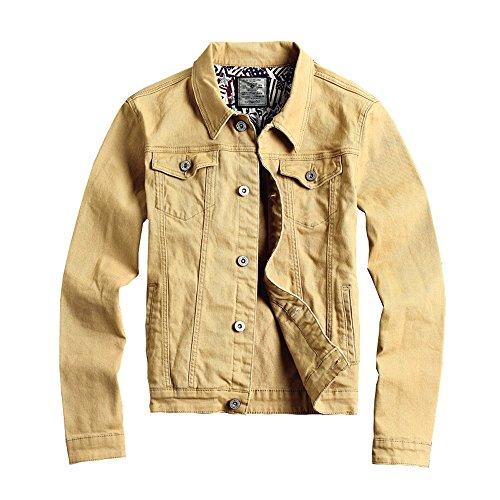RongYue Men's Slim Fit Denim Jacket Classic Button Trucker Jacket