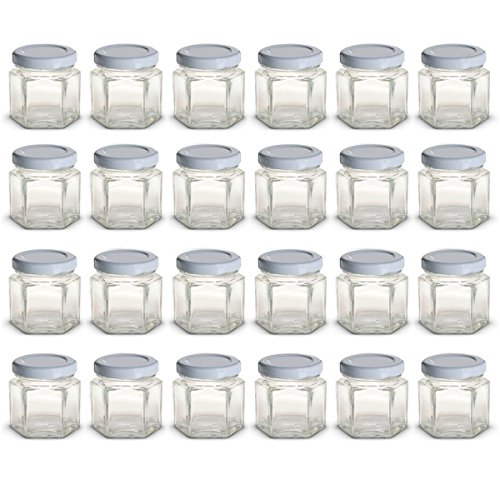 1.5 oz Hexagon Mini Glass Jars with White Lids and Labels (Pack of 24) for $<!--$19.95-->