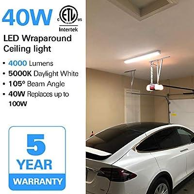 Hykolity 4FT LED Linear Wraparound Flushmount Ceiling Light 40W for Garage