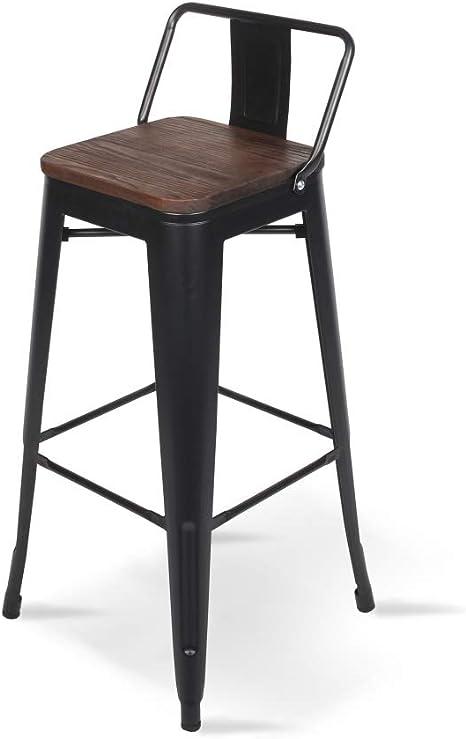 Tabouret de Bar en m/étal Noir Mat et Assise en Bois fonc/é Tabouret m/étal et Bois Haut Hauteur 66cm id/éal pour Une Table de 90cm Kosmi