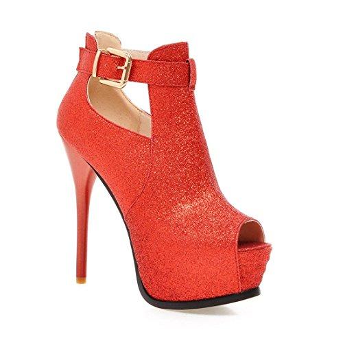Frauen Dünnen Absatz Knöchel Hohe Plattform Peep Toe Pumps der Schuhe OL Arbeit Rot