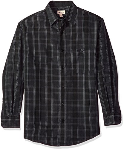 Haggar Men's Long Sleeve Sueded Effect Microfiber Woven Shirt, Black Plaid, S