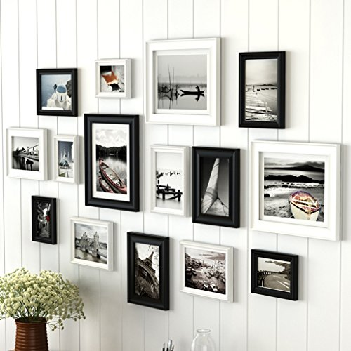 Home@Wall photo frame Photo Gallery Frame Set Of Wall With Usable Artwork And Family, Set Of 15 ( Color : D ) by ZGP
