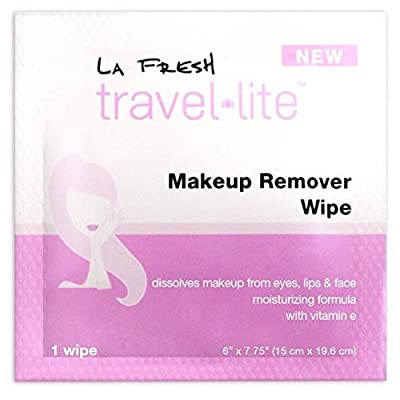 La Fresh Makeup Remover Cleansing Travel Wipes - Natural, Biodegradable, Waterproof, Facial Towelettes With Vitamin E - Individually Wrapped & Sealed Packets