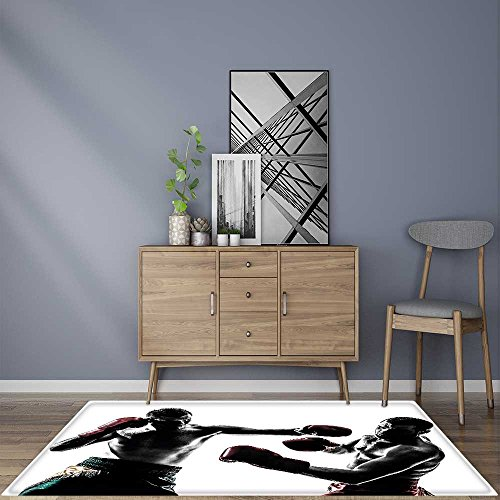 Artistic Rugs one caucasian man exercising thai boxing in silhouette studio on white background Maximum Absorbent Soft 24''x40'' by Jiahonghome