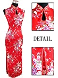 Coac3 White Women's Long Halter Cheongsam Qipao Chinese Tradition Evening Dress Flower Size S M L XL XXL Red L