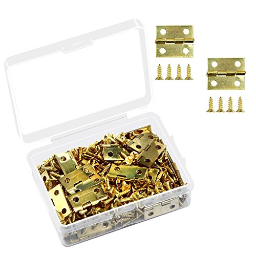 Aneco 60 Pieces Mini Brass Hinges Retro Butt Hinges with 240 Pieces Replacement Hinge Screws for Jewelry Chest Box Wood Cabinet -