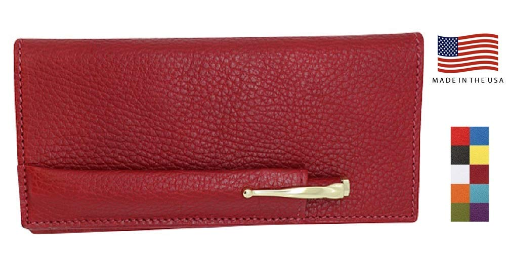 Cherry Red Colorado Collection Genuine Leather Checkbook Cover with Matching Leather Hand-wrapped Gold Pen – Anniversary Gifts for Her or Him – Made in USA by Real Leather Creations FBA644