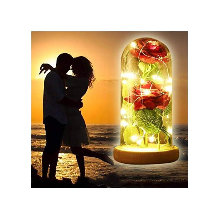 """51sHfW4CLFL ♥ """"KIT DE ROSA ROJA """"BEAUTY AND THE BEAST"""": Incluye 2 piezas de Red Silk Rose, 20 Leds Strip Light con A Glass Dome y A Wooden Base, crea un ambiente romántico para los amantes. ♥ROSA BRILLANTE EN BÓVEDA DE CRISTAL: Altura 18cm, Diámetro 8.5cm. Espesor de vidrio de 0.23cm. Con el paquete confiable. Por favor, tenga la seguridad de comprar. También puede cortar y doblar la longitud de la rosa según su necesidad. E insértelo en el pequeño orificio de la base de madera. ♥ROSA DE SEDA ARTIFICIAL: La cadena de 20 LED tiene una longitud de aproximadamente 2m / 6.6ft, está hecha con un fino alambre de cobre flexible que crea la forma que desee y agrega un hermoso acento decorativo. Hecho de alambre de cobre alto, flexible, IP20 a prueba de agua, duradero para uso diario."""