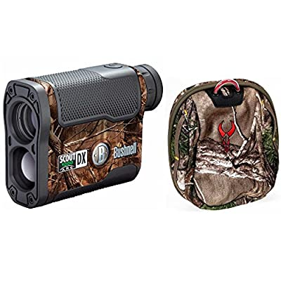 Bushnell Scout DX 1000 ARC 6 x 21mm Laser Rangefinder, Realtree, with Badlands Camo Rangefinder Case by Bushnell