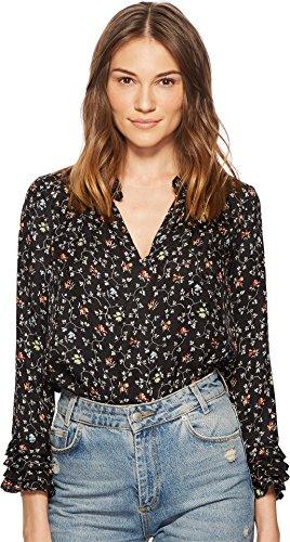 Rebecca Taylor Women's Vine Print Silk Ruffle Top Black 8 (Rebecca Mini Taylor)