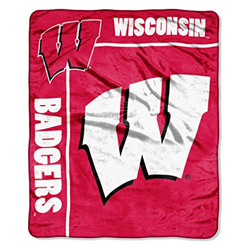 Officially Licensed NCAA Wisconsin Badgers School Spirit Plush Raschel Throw Blanket, 50