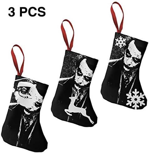 クリスマスの日の靴下 (ソックス3個)クリスマスデコレーションソックス 映画Joker クリスマス、ハロウィン 家庭用、ショッピングモール用、お祝いの雰囲気を加える 人気を高める、販売、プロモーション、年次式