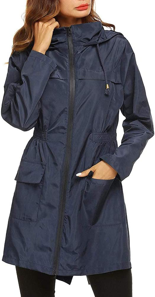 Puimentiua Lightweight Raincoat for Women Waterproof Packable Hooded Outdoor Hiking Long Rain Jacket Active Rainwear