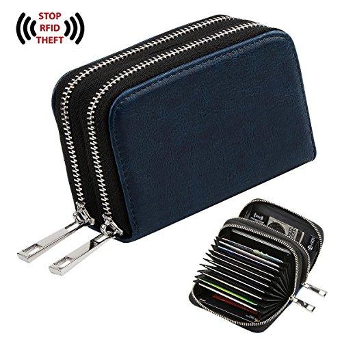Te-Rich Womens PU Leather RFID Secure Spacious Cute Zipper Card Wallet Small Purse (Navy Blue)