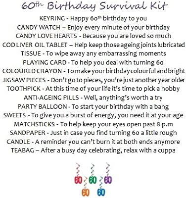 4f1a3a71028d 60th Birthday Survival Gift Kit Fun Happy Birthday Gift Present For Him Her  Choose From Lilac Or Blue (Lilac)
