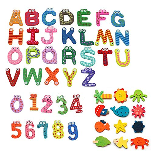 48Pcs Wooden Cute Cartoon Fridge Magnet Novelty Animals Numbers Letters Alphabet Wooden Fridge Magnet Sticker Cute Funny Refrigerator Sticker for Learning & Education