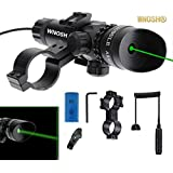WNOSH Super Power Tactical Strike Head Adjustable Green Laser Sight Scope with Mounts for Pistol Handgun Air Gun Rifle Include Battery Charger