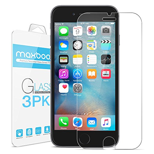 iPhone 6S Plus Screen Protector, Maxboost (3-Pack) Tempered Glass Screen Protectors for Apple iPhone 6s Plus / 6 Plus Phone [HD Clarity] [Case Friendly] [Easy Install] (3 Pack)