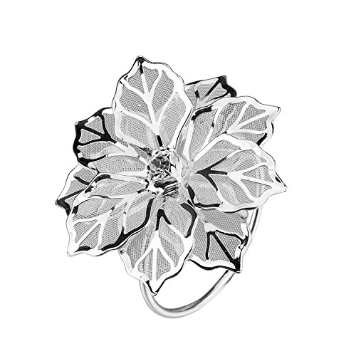 TtoyouU Set of 12 Alloy Napkin Rings with Hollow out Flower for Wedding Banquet Dinner Decor Favor (Silver)