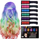 Kyerivs Hair Chalk Comb Temporary Hair Color Dye For Kid Party and colorful rainbow hair Cosplay DIY Festival Dress up Safe Washable Christmas Birthday Gift for Girls Boys Halloween Makeup Mini 6PC