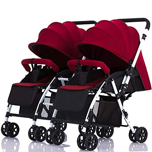 Twin Baby Stroller Detachable Handle Reversible Infant Carriage Can Sit and Lie Down Lightweight Foldable Double Trolley (Color : Wine red)