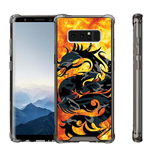 Untouchble Case for Samsung Galaxy Note 8 Case,Note 8 Case,[SMOKE GREY FLEX] Slim Shockproof Hard PC+TPU Bumper Case Scratch-Resistant Cover for Samsung Galaxy Note 8 2017 - Red Fire Dragon