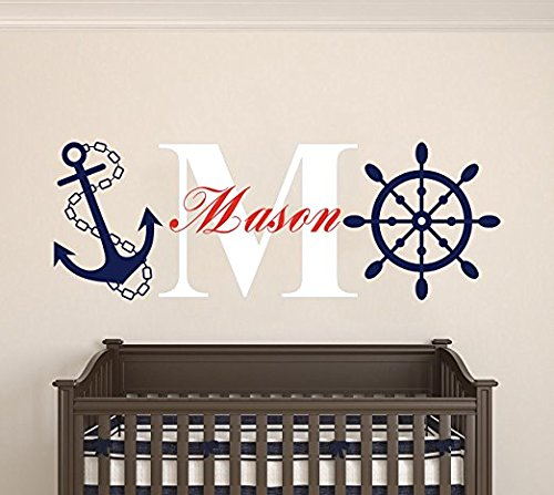 Custom Name & Initial Wheel & Anchor - Nautical Theme - Baby Boy - Wall Decal Nursery For Home Bedroom Children (AM) (Wide 30