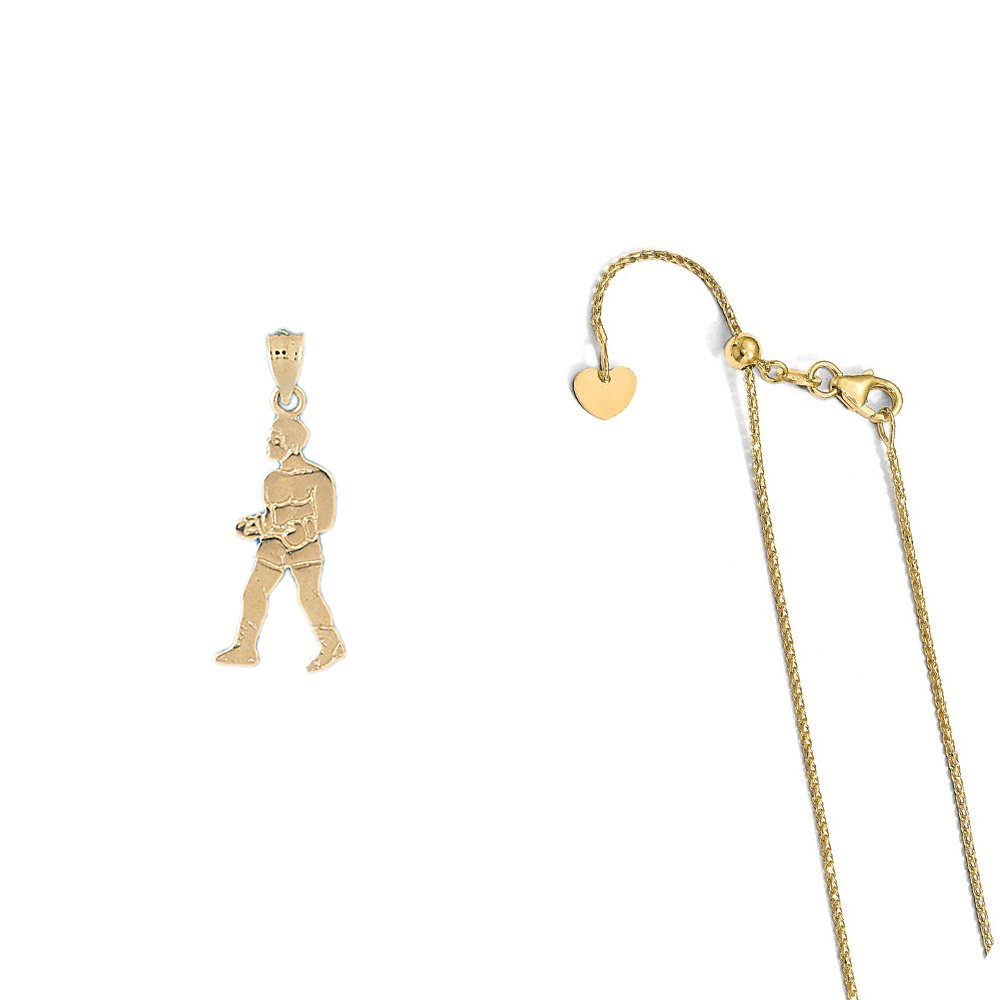 14K Yellow Gold Boxer Pendant on an Adjustable 14K Yellow Gold Chain Necklace