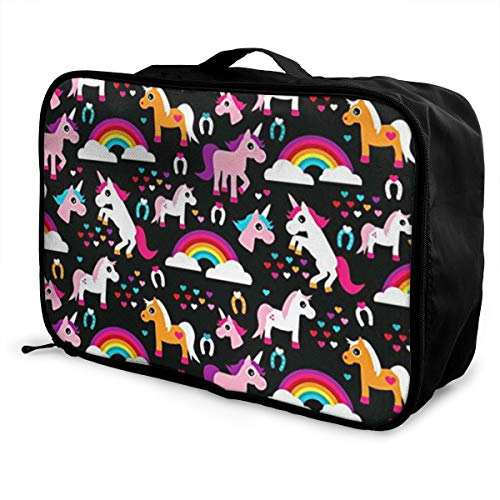 JKOEMSEF Unicorn Rainbow Dream Adorable Horse Waterproof Travel Duffel Carry On Tote Lightweight Weekender Bag,Personalized Printed Travel Bag,Become A Highlight in Tourism