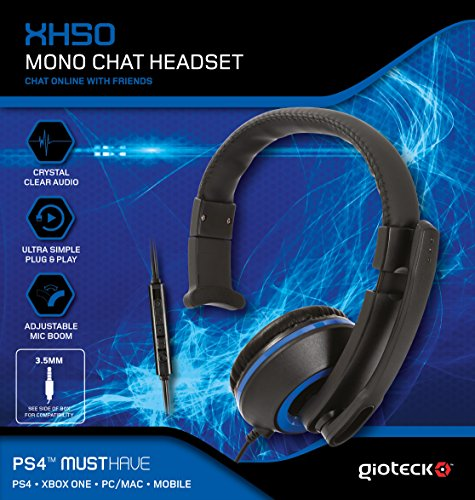 Clearchat Black Headset (Gioteck XH-50 Wired Mono Headset With Adjustable MIC Boom For Sony PS4 | Black)